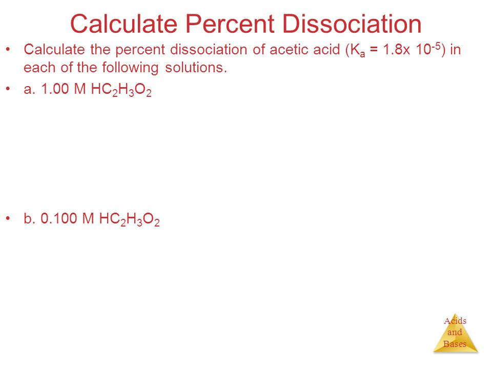 Acids and Bases Calculate Percent Dissociation Calculate the percent dissociation of acetic acid (K a = 1.8x ) in each of the following solutions.