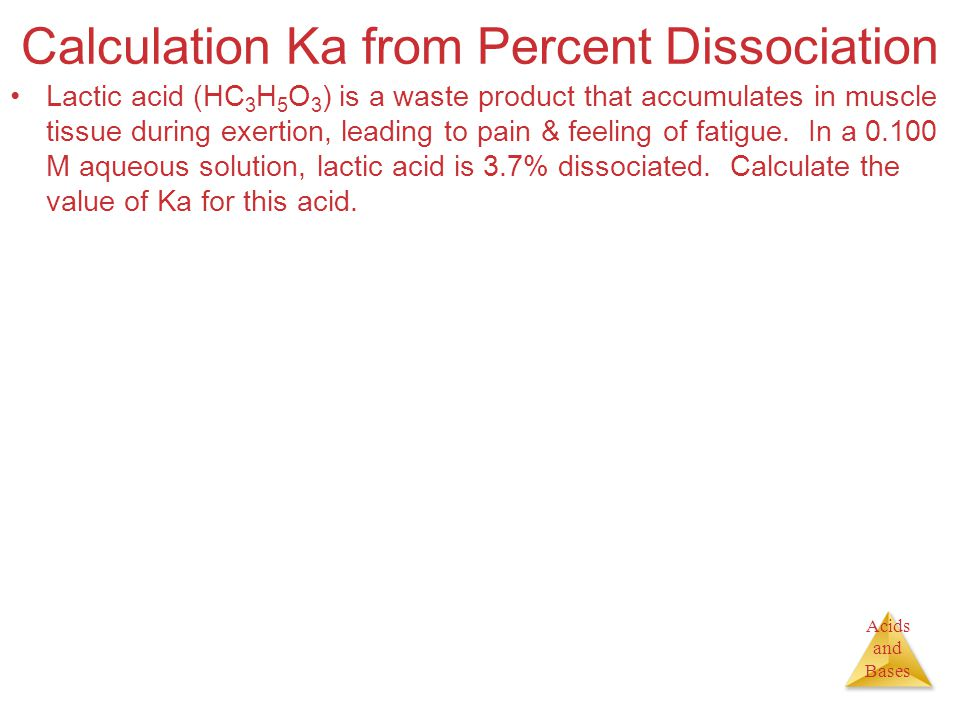 Acids and Bases Calculation Ka from Percent Dissociation Lactic acid (HC 3 H 5 O 3 ) is a waste product that accumulates in muscle tissue during exertion, leading to pain & feeling of fatigue.
