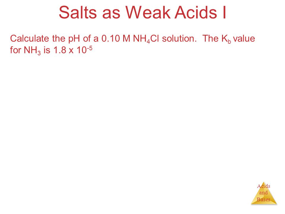 Acids and Bases Salts as Weak Acids I Calculate the pH of a 0.10 M NH 4 Cl solution.