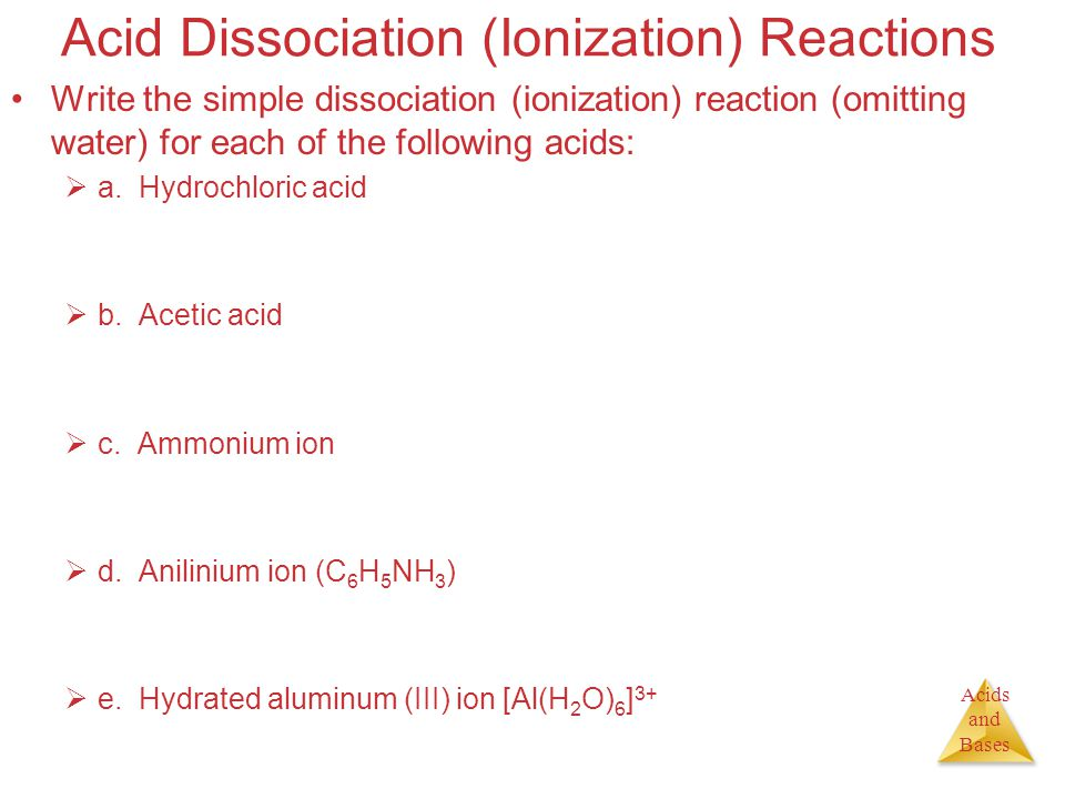 Acids and Bases Acid Dissociation (Ionization) Reactions Write the simple dissociation (ionization) reaction (omitting water) for each of the followin