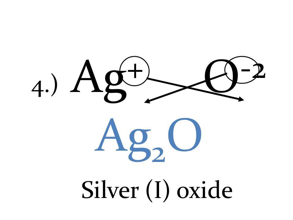 4.) Ag + O -2 Ag 2 O Silver (I) oxide