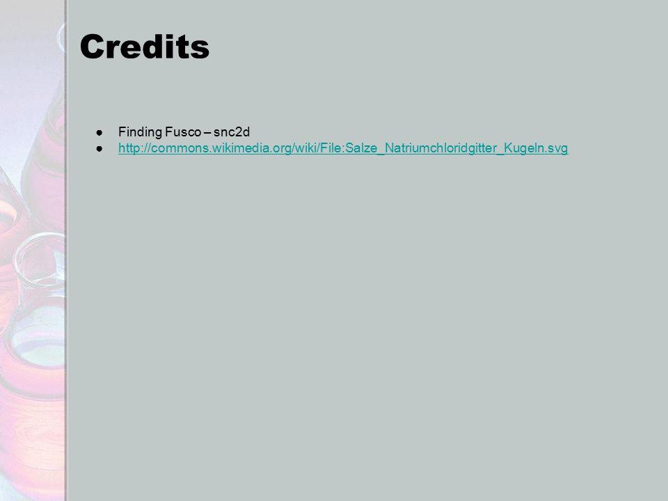 Credits ●Finding Fusco – snc2d ●http://commons.wikimedia.org/wiki/File:Salze_Natriumchloridgitter_Kugeln.svghttp://commons.wikimedia.org/wiki/File:Sal