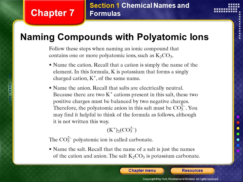Copyright © by Holt, Rinehart and Winston. All rights reserved. ResourcesChapter menu Chapter 7 Naming Compounds with Polyatomic Ions Chapter 7 Sectio