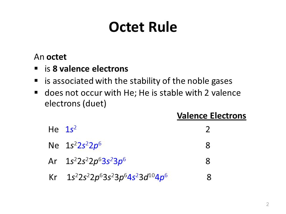 2 An octet  is 8 valence electrons  is associated with the stability of the noble gases  does not occur with He; He is stable with 2 valence electrons (duet) Valence Electrons He 1s 2 2 Ne 1s 2 2s 2 2p 6 8 Ar 1s 2 2s 2 2p 6 3s 2 3p 6 8 Kr 1s 2 2s 2 2p 6 3s 2 3p 6 4s 2 3d 10 4p 6 8 Octet Rule