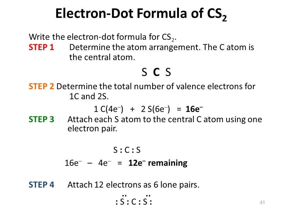 41 Electron-Dot Formula of CS 2 Write the electron-dot formula for CS 2. STEP 1 Determine the atom arrangement. The C atom is the central atom. S C S