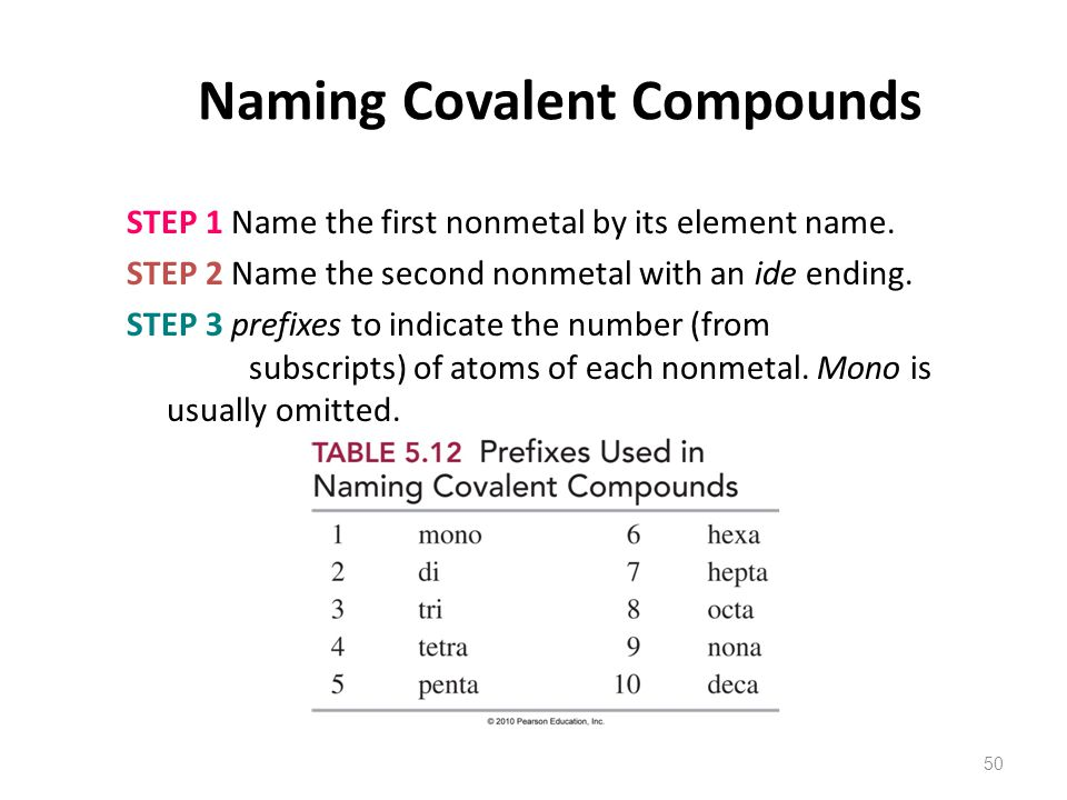 50 Naming Covalent Compounds STEP 1 Name the first nonmetal by its element name.