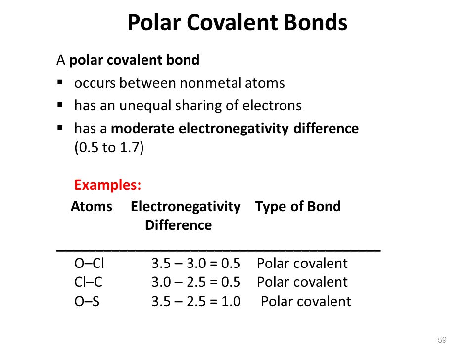59 A polar covalent bond  occurs between nonmetal atoms  has an unequal sharing of electrons  has a moderate electronegativity difference (0.5 to 1.7) Examples: Atoms Electronegativity Type of Bond Difference _________________________________________ O–Cl 3.5 – 3.0 = 0.5 Polar covalent Cl–C 3.0 – 2.5 = 0.5 Polar covalent O–S 3.5 – 2.5 = 1.0 Polar covalent Polar Covalent Bonds