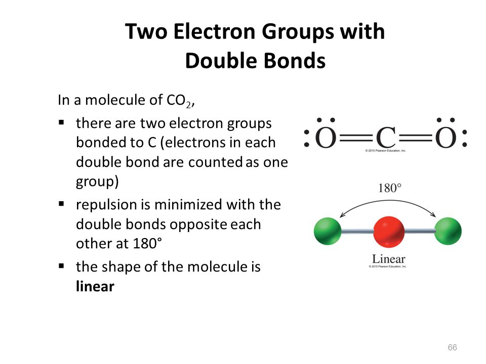 66 Two Electron Groups with Double Bonds In a molecule of CO 2,  there are two electron groups bonded to C (electrons in each double bond are counted as one group)  repulsion is minimized with the double bonds opposite each other at 180°  the shape of the molecule is linear