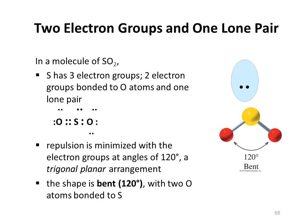 68 Two Electron Groups and One Lone Pair In a molecule of SO 2,  S has 3 electron groups; 2 electron groups bonded to O atoms and one lone pair......