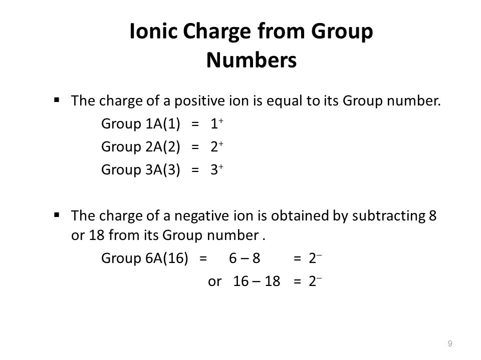 9 Ionic Charge from Group Numbers  The charge of a positive ion is equal to its Group number.