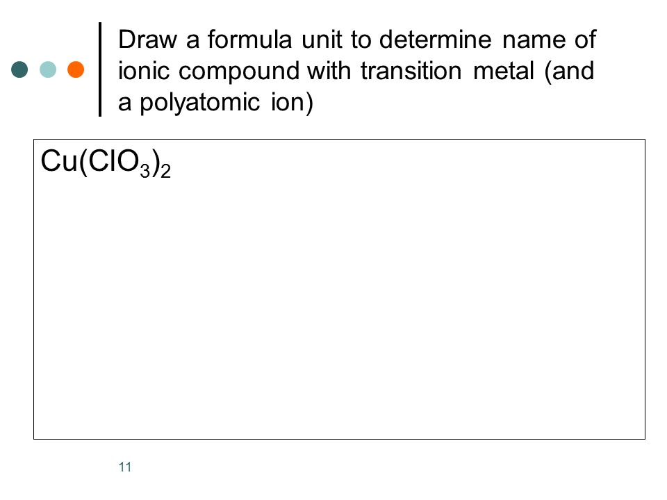 Draw a formula unit to determine name of ionic compound with transition metal (and a polyatomic ion) Cu(ClO 3 ) 2 11