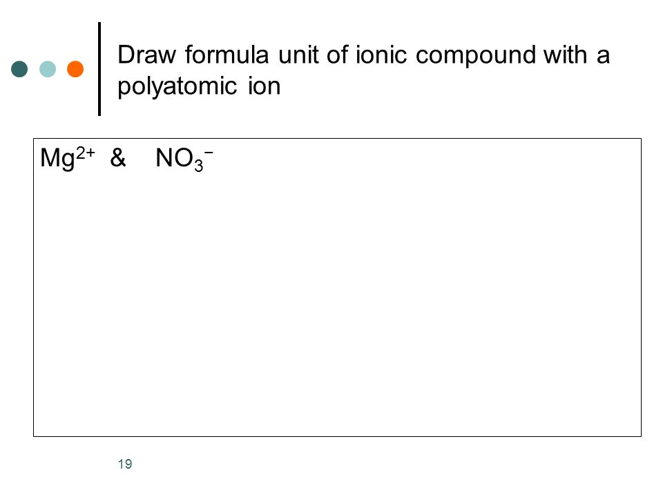 Draw formula unit of ionic compound with a polyatomic ion Mg 2+ & NO 3 − 19