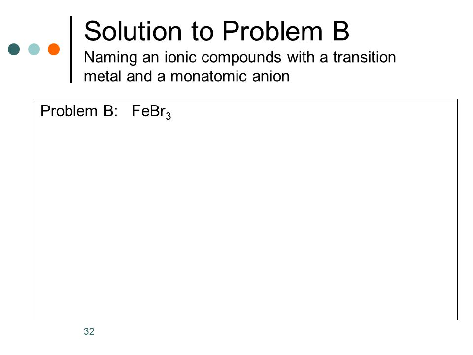 Solution to Problem B Naming an ionic compounds with a transition metal and a monatomic anion Problem B: FeBr 3 32