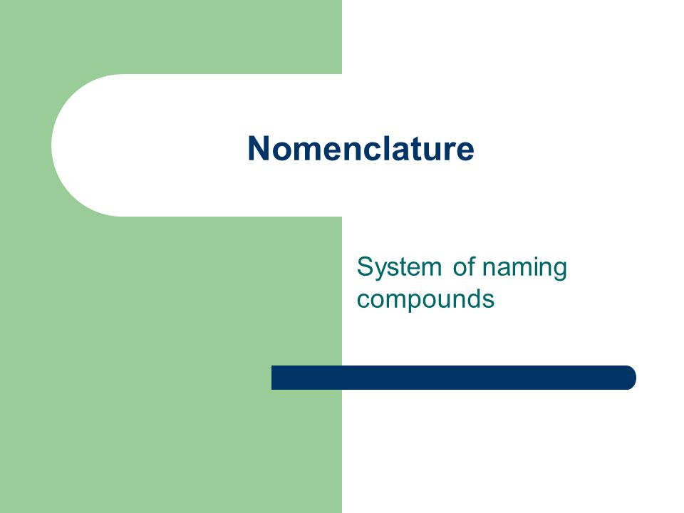 Nomenclature System of naming compounds