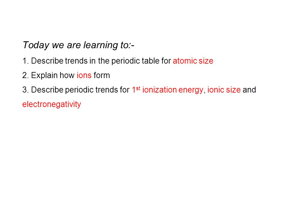 Today we are learning to:- 1.Describe trends in the periodic table for atomic size 2.