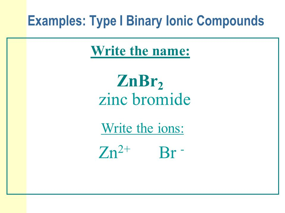 Examples: Type I Binary Ionic Compounds Write the name: ZnBr 2 zinc bromide Write the ions: Zn 2+ Br -