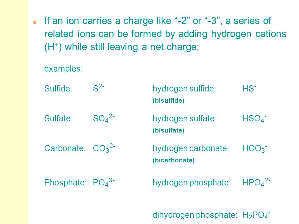 """n If an ion carries a charge like """"-2"""" or """"-3"""", a series of related ions can be formed by adding hydrogen cations (H + ) while still leaving a net cha"""