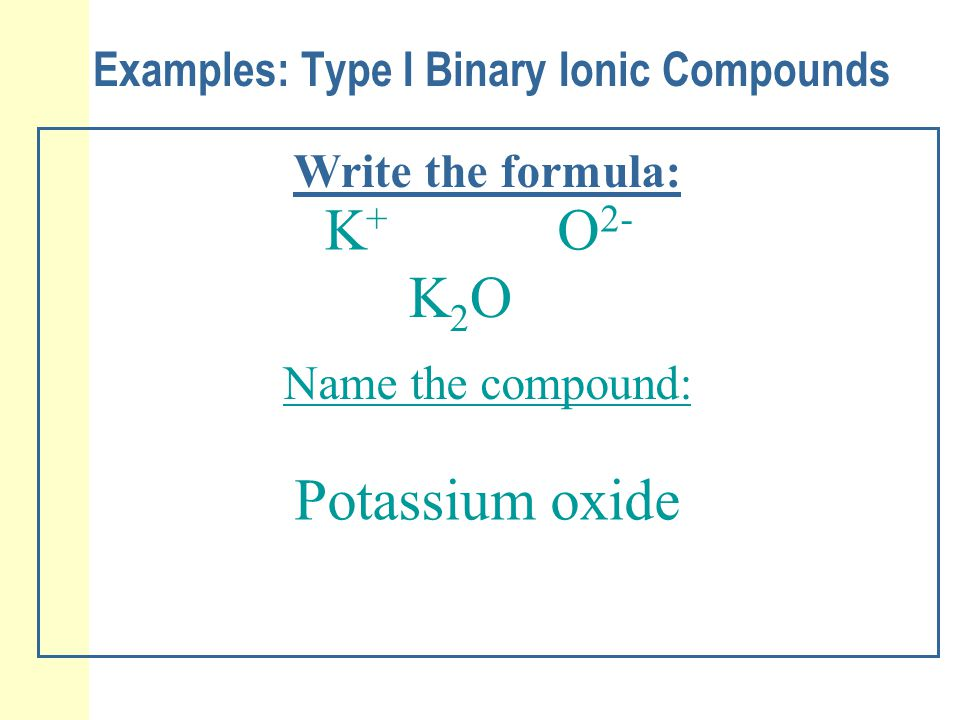 Examples: Type I Binary Ionic Compounds Write the formula: K+K+ O 2- K2OK2O Name the compound: Potassium oxide