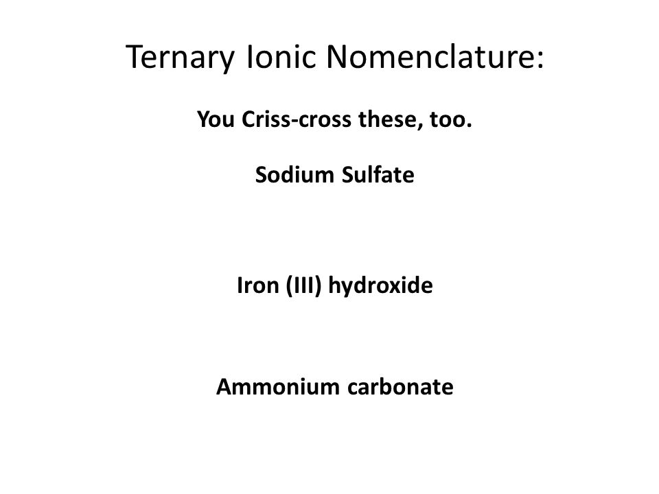 Learning Check 1. aluminum nitrate a) AlNO 3 b) Al(NO) 3 c) Al(NO 3 ) 3 2. copper(II) nitrate a) CuNO 3 b) Cu(NO 3 ) 2 c) Cu 2 (NO 3 ) 3. Iron (III) h