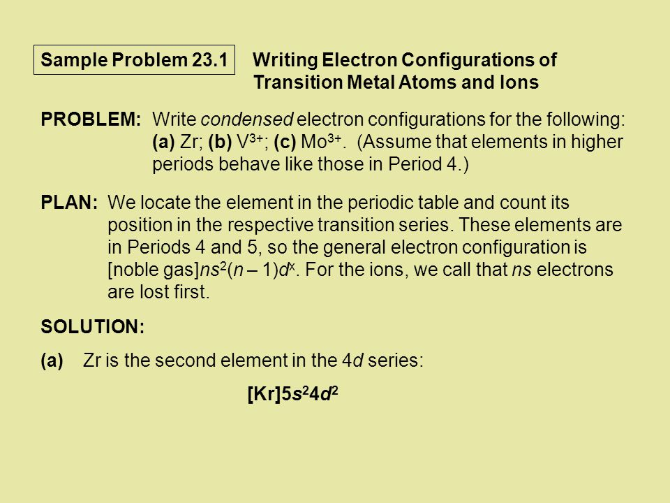 Sample Problem 23.3 PLAN:We use the rules for writing formulas and names of coordination compounds.