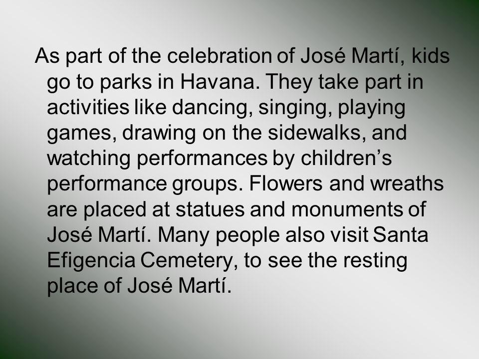 As part of the celebration of José Martí, kids go to parks in Havana.