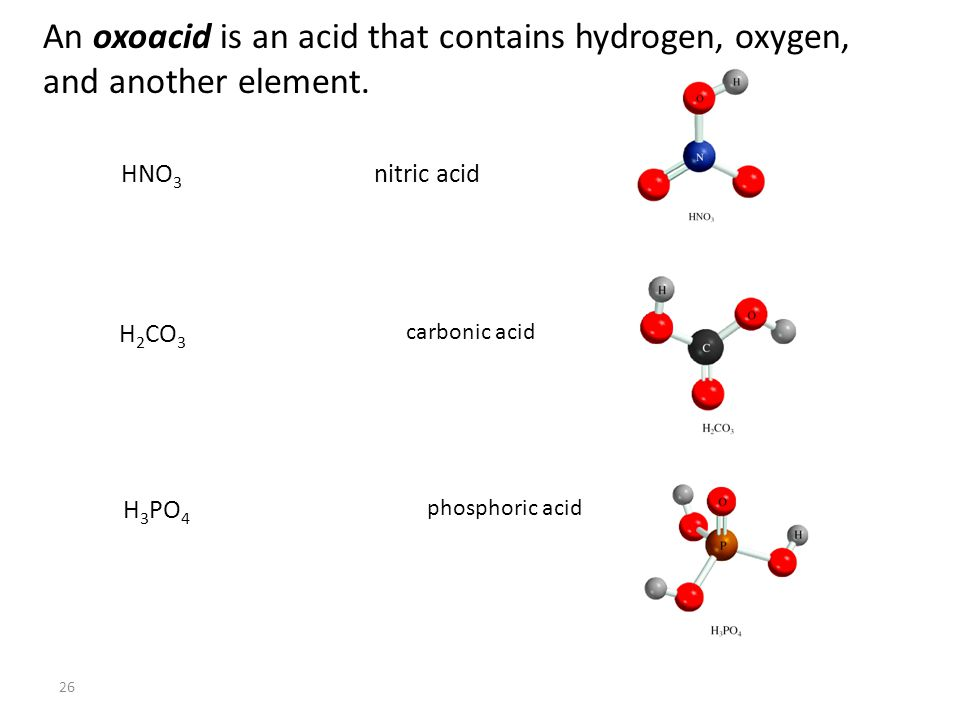 26 An oxoacid is an acid that contains hydrogen, oxygen, and another element.
