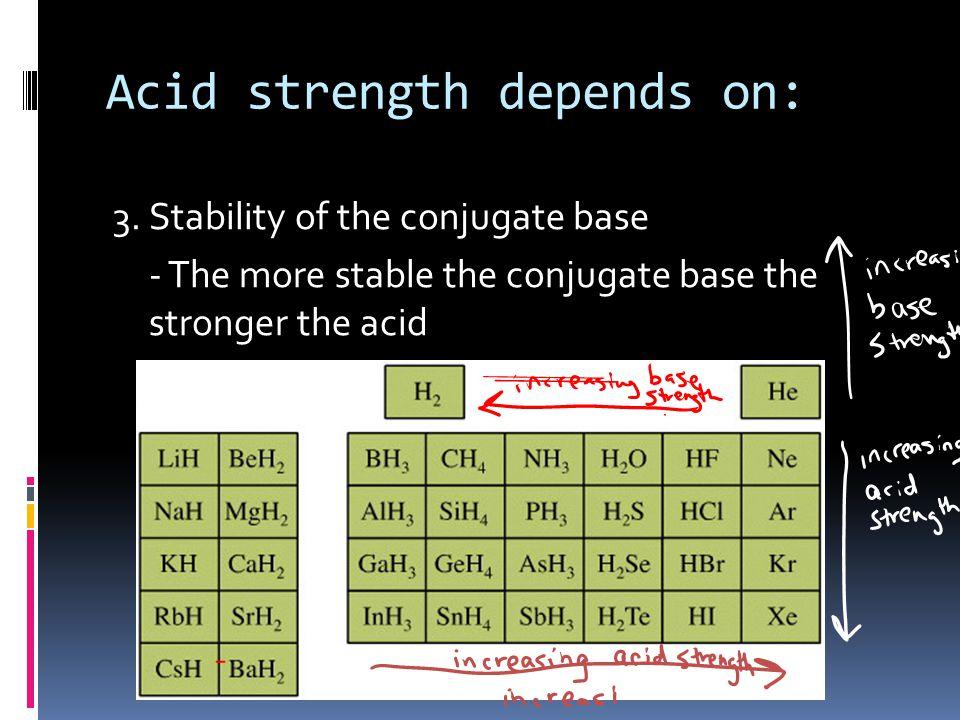 Acid strength depends on: 3.