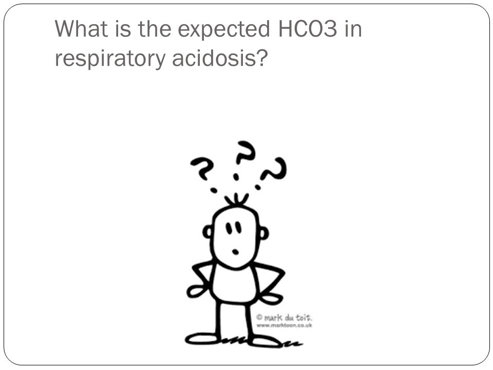What is the expected HCO3 in respiratory acidosis