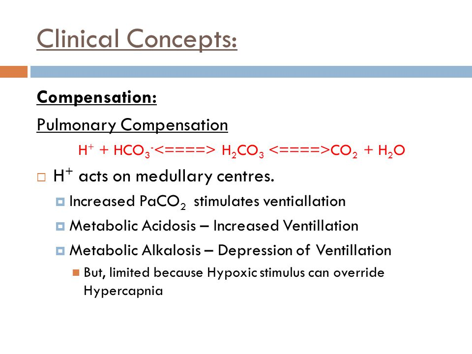 Clinical Concepts: Compensation: Pulmonary Compensation H + + HCO 3 - H 2 CO 3 CO 2 + H 2 O  H + acts on medullary centres.  Increased PaCO 2 stimul
