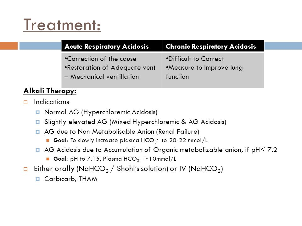 Treatment: Alkali Therapy:  Indications  Normal AG (Hyperchloremic Acidosis)  Slightly elevated AG (Mixed Hyperchloremic & AG Acidosis)  AG due to
