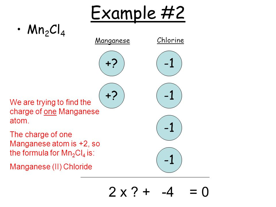 Example #2 Mn 2 Cl 4 +? +? Manganese Chlorine 2 x ? + -4 = 0 We are trying to find the charge of one Manganese atom. The charge of one Manganese atom