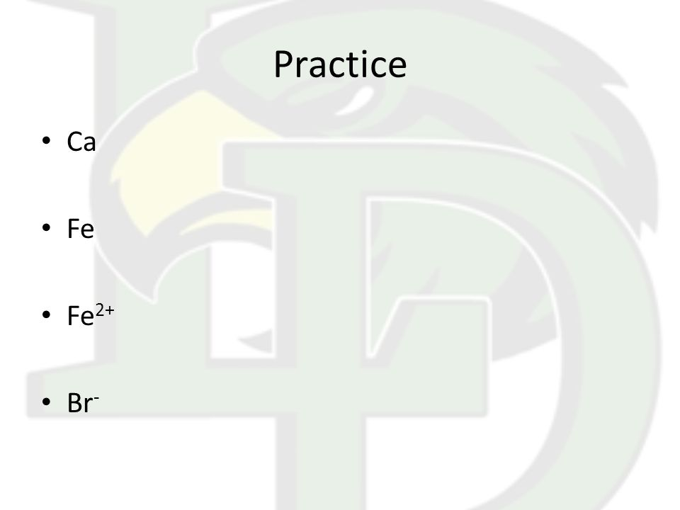 Practice Ca Fe Fe 2+ Br -