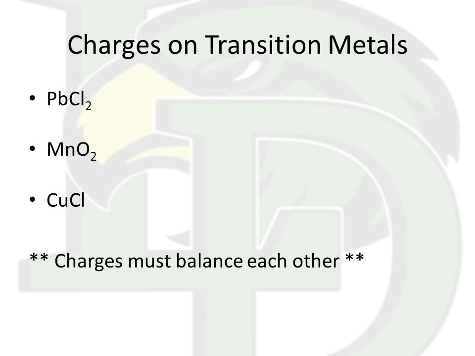 Charges on Transition Metals PbCl 2 MnO 2 CuCl ** Charges must balance each other **