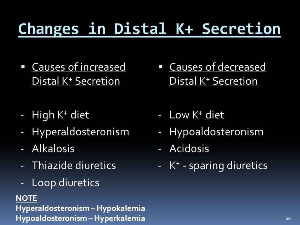 Changes in Distal K+ Secretion  Causes of increased Distal K + Secretion - High K + diet - Hyperaldosteronism - Alkalosis - Thiazide diuretics - Loop diuretics  Causes of decreased Distal K + Secretion - Low K + diet - Hypoaldosteronism - Acidosis - K + - sparing diuretics 20 NOTE Hyperaldosteronism – Hypokalemia Hypoaldosteronism – Hyperkalemia