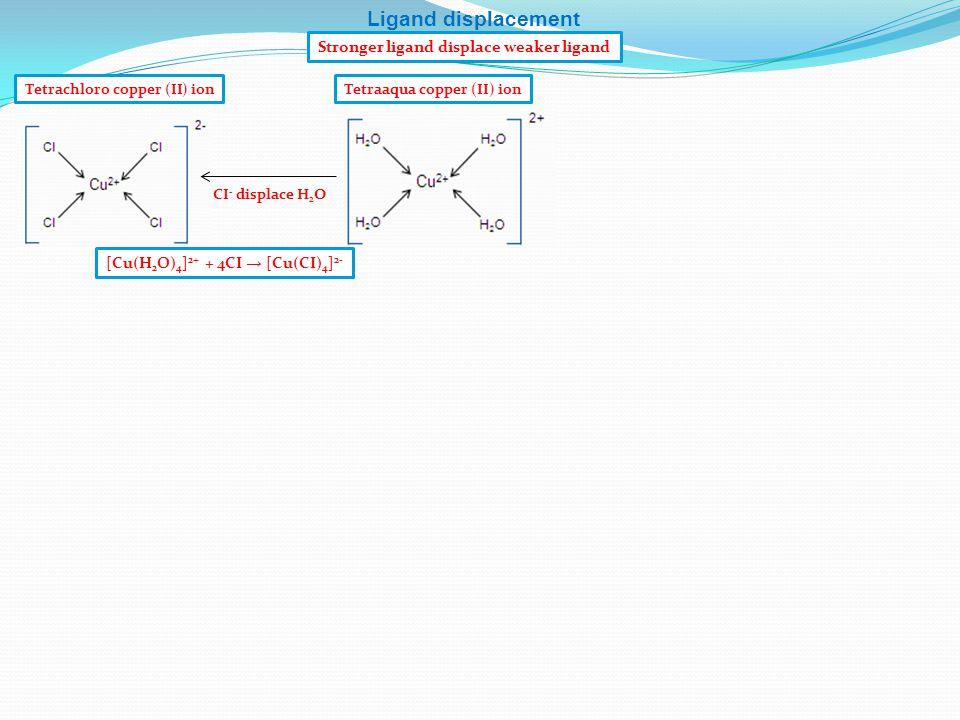 Tetrachloro copper (II) ion CI - displace H 2 O Stronger ligand displace weaker ligand Ligand displacement [Cu(H 2 O) 4 ] 2+ + 4CI → [Cu(CI) 4 ] 2- Te