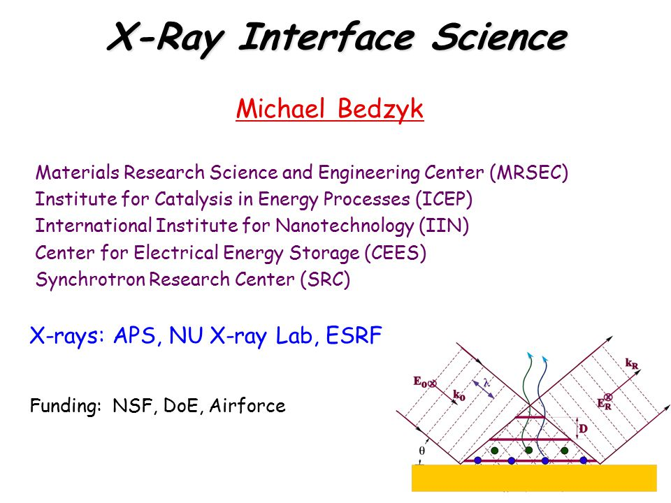 X-Ray Interface Science Michael Bedzyk Materials Research Science and Engineering Center (MRSEC) Institute for Catalysis in Energy Processes (ICEP) In