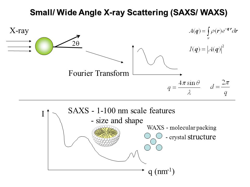 X-ray Fourier Transform q (nm -1 ) SAXS - 1-100 nm scale features - size and shape WAXS - molecular packing - crystal structure I Small/ Wide Angle X-