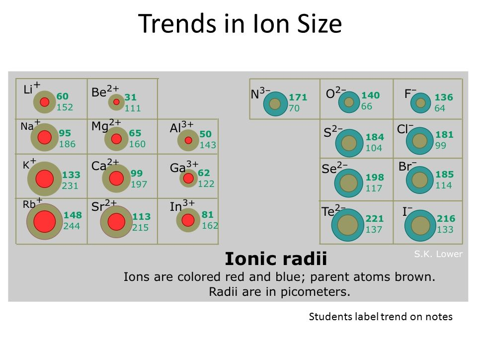 Trends in Ion Size Students label trend on notes