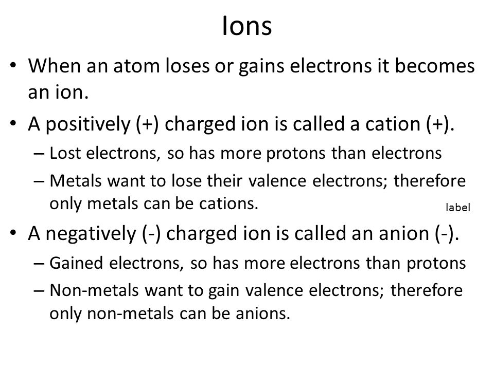 Ions When an atom loses or gains electrons it becomes an ion.