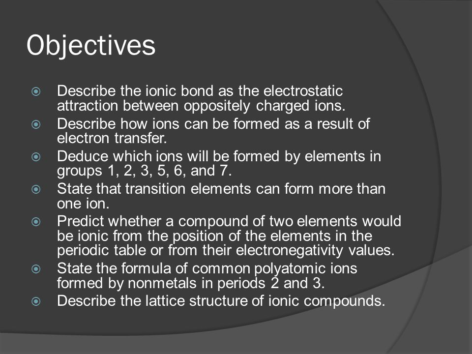 Objectives  Describe the ionic bond as the electrostatic attraction between oppositely charged ions.  Describe how ions can be formed as a result of