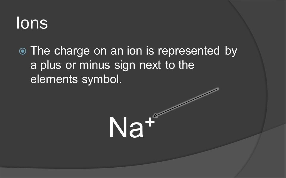 Ions  The charge on an ion is represented by a plus or minus sign next to the elements symbol.