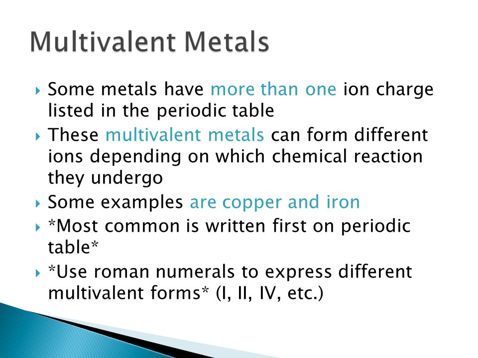 StepsExample: Cu 3 N 1.Identify the metalCopper (Cu) 2.