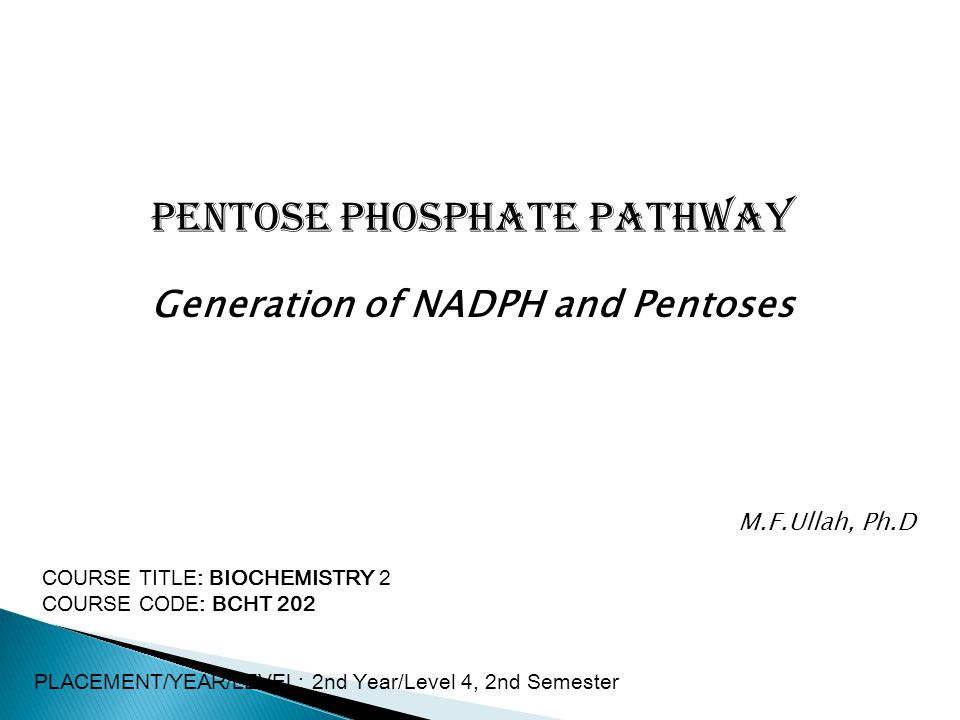 Pentose Phosphate Pathway Generation of NADPH and Pentoses COURSE TITLE: BIOCHEMISTRY 2 COURSE CODE: BCHT 202 PLACEMENT/YEAR/LEVEL: 2nd Year/Level 4, 2nd Semester M.F.Ullah, Ph.D