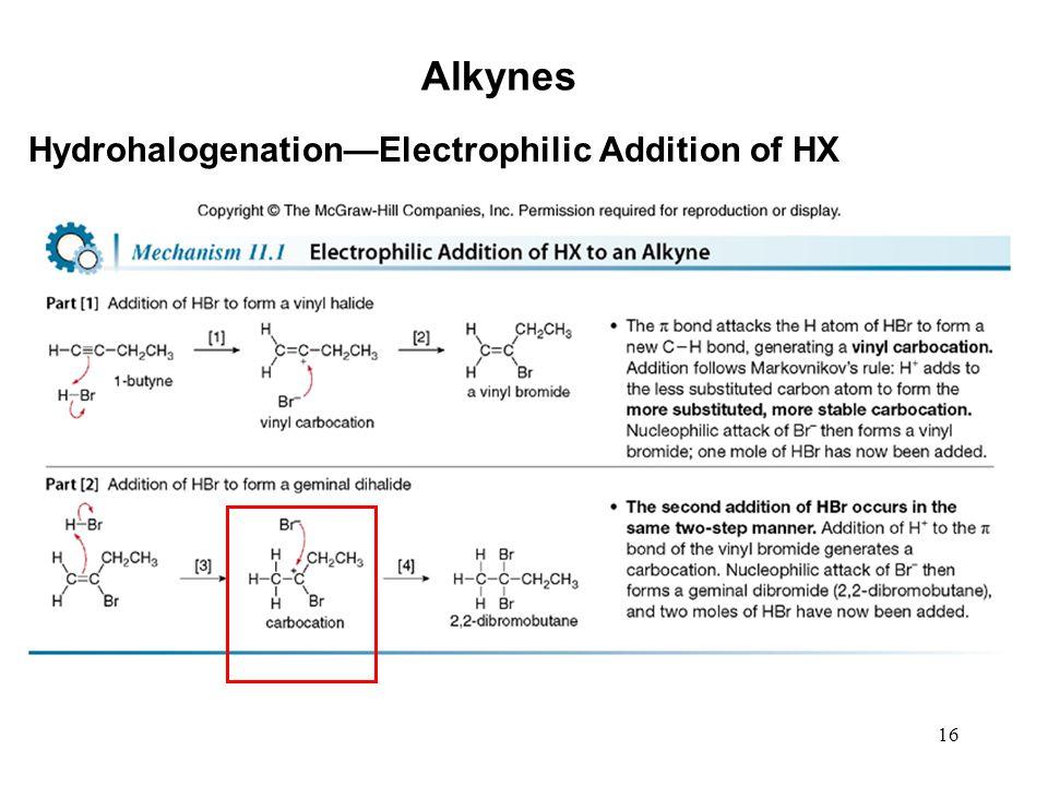 16 Alkynes Hydrohalogenation—Electrophilic Addition of HX