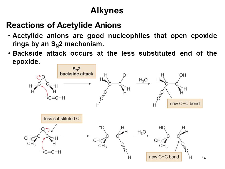 34 Alkynes Reactions of Acetylide Anions Acetylide anions are good nucleophiles that open epoxide rings by an S N 2 mechanism. Backside attack occurs