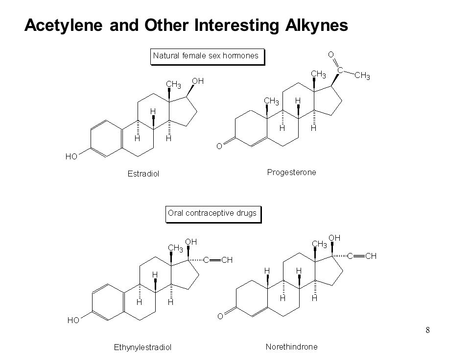 9 Alkynes Acetylene and Other Interesting Alkynes Ethynylestradiol and norethindrone are two components of oral contraceptives that contain a carbon-carbon triple bond.