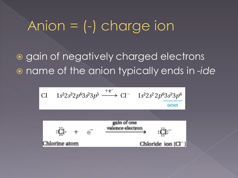  Anion that gains 2 electrons