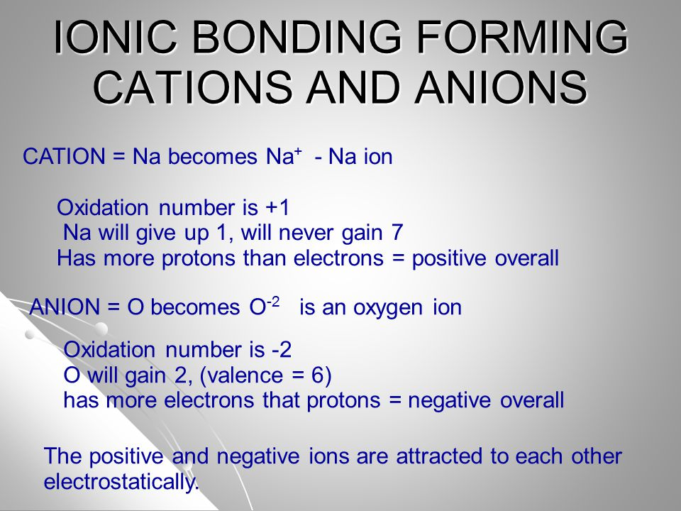 IONIC BONDING FORMING CATIONS AND ANIONS ANION = O becomes O -2 is an oxygen ion Oxidation number is -2 O will gain 2, (valence = 6) has more electrons that protons = negative overall CATION = Na becomes Na + - Na ion Oxidation number is +1 Na will give up 1, will never gain 7 Has more protons than electrons = positive overall The positive and negative ions are attracted to each other electrostatically.