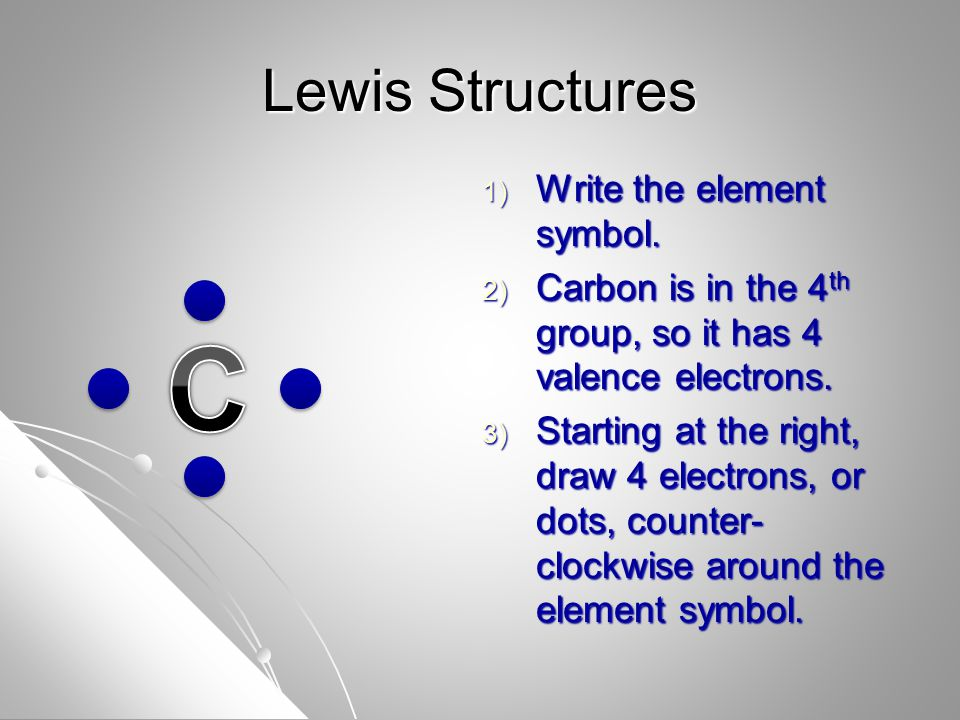 Lewis Structures 1) Write the element symbol.