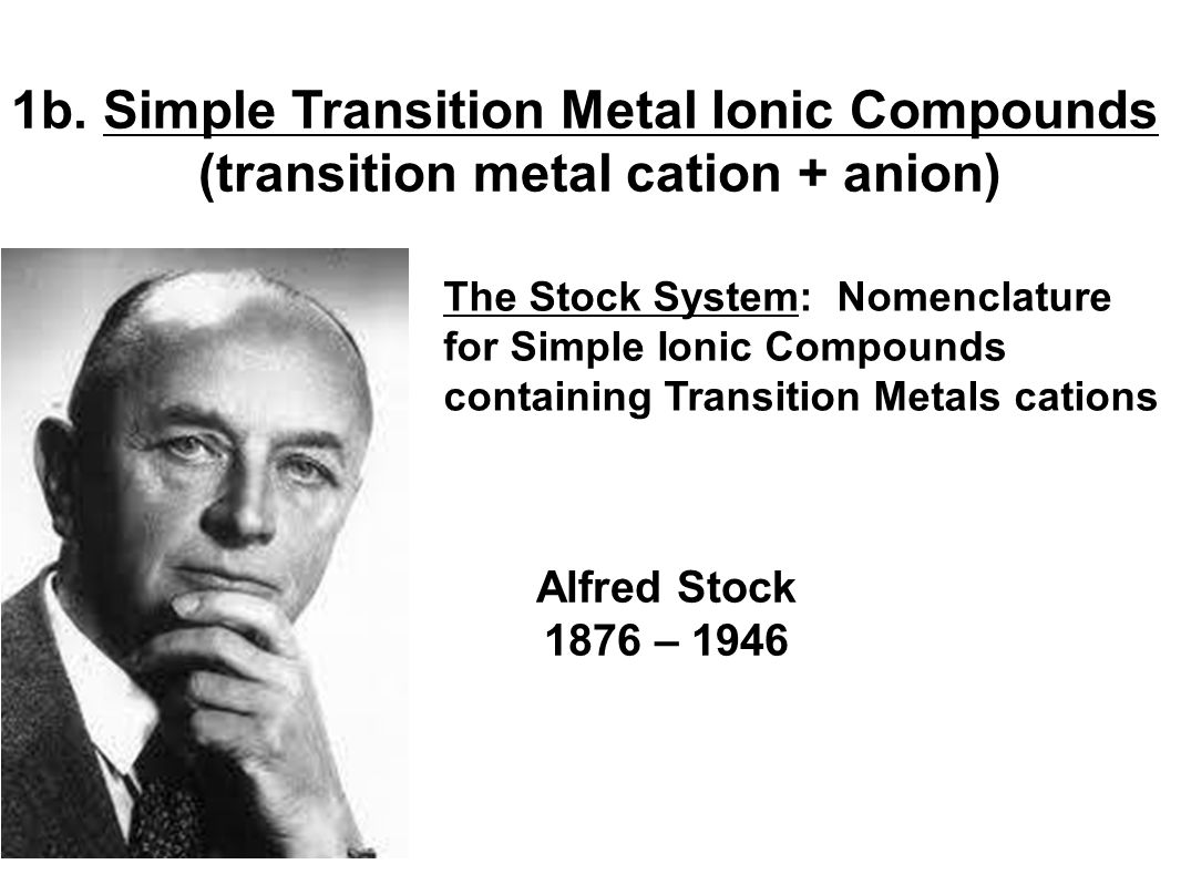 1b. Simple Transition Metal Ionic Compounds (transition metal cation + anion) The Stock System: Nomenclature for Simple Ionic Compounds containing Tra